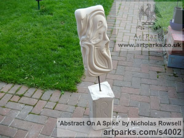 Portland limestone (Bowers best bed) Garden Or Yard / Outside and Outdoor sculpture by sculptor Nicholas Rowsell titled: 'abstract on a spike (Carved stone Modern sculptures)' - Artwork View 2