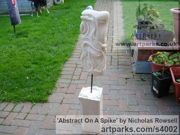 Portland limestone (Bowers best bed) Garden Or Yard / Outside and Outdoor sculpture by sculptor Nicholas Rowsell titled: 'abstract on a spike (Carved stone Modern sculptures)' - Artwork View 3