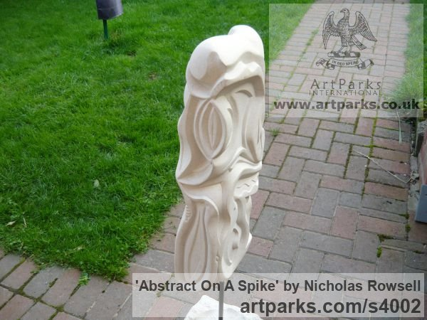 Portland limestone (Bowers best bed) Garden Or Yard / Outside and Outdoor sculpture by sculptor Nicholas Rowsell titled: 'abstract on a spike (Carved stone Modern sculptures)' - Artwork View 4