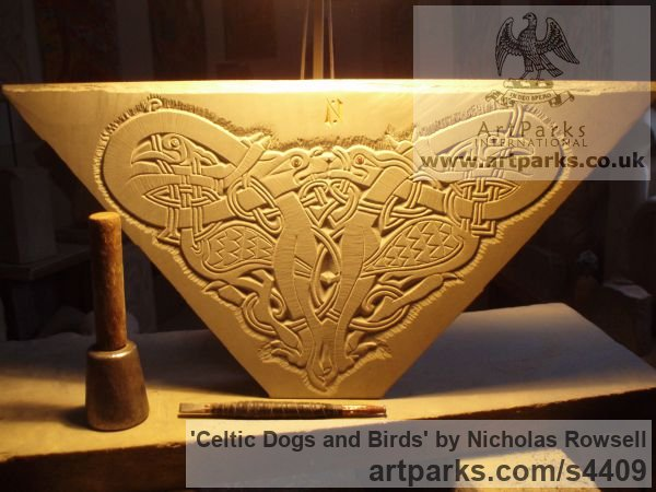 Dunhouse Blue sandstone Stylised Birds Sculptures / Statues / statuary / ornaments figurines / statuettes sculpture by sculptor Nicholas Rowsell titled: 'Celtic Dogs and Birds (Intricate Low Relief sculptures)'