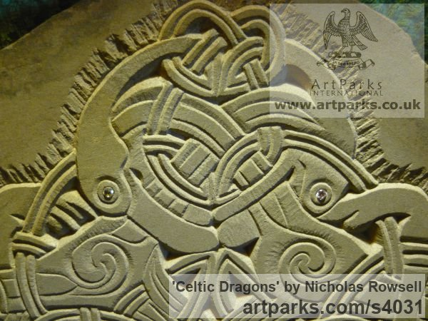 Dunhouse Blue sandstone Wall Mounted or Wall Hanging sculpture by sculptor Nicholas Rowsell titled: 'Celtic Dragons (Carved stone Low Relief Panel statue)' - Artwork View 2