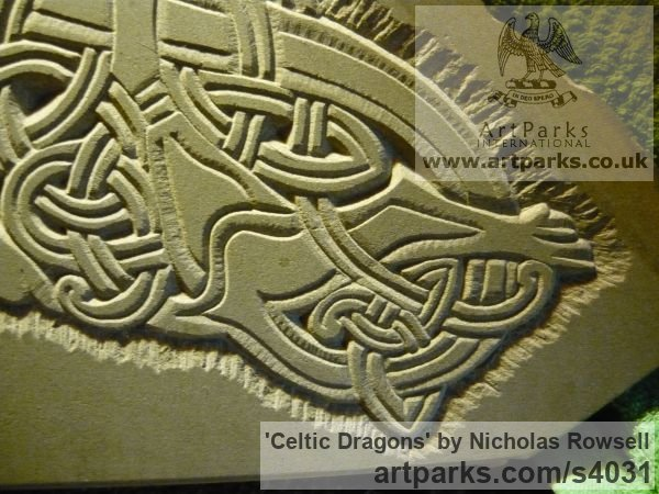 Dunhouse Blue sandstone Wall Mounted or Wall Hanging sculpture by sculptor Nicholas Rowsell titled: 'Celtic Dragons (Carved stone Low Relief Panel statue)' - Artwork View 4