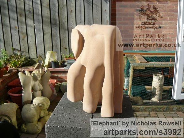Old Red sandstone Wild Animals and Wild Life sculpture by sculptor Nicholas Rowsell titled: 'Elephant (Semi abstract Carved stone statuettes)'