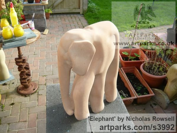 Old Red sandstone Wild Animals and Wild Life sculpture by sculptor Nicholas Rowsell titled: 'Elephant (Semi abstract Carved stone statuettes)' - Artwork View 4