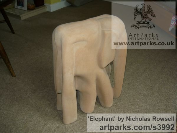 Old Red sandstone Wild Animals and Wild Life sculpture by sculptor Nicholas Rowsell titled: 'Elephant (Semi abstract Carved stone statuettes)' - Artwork View 5