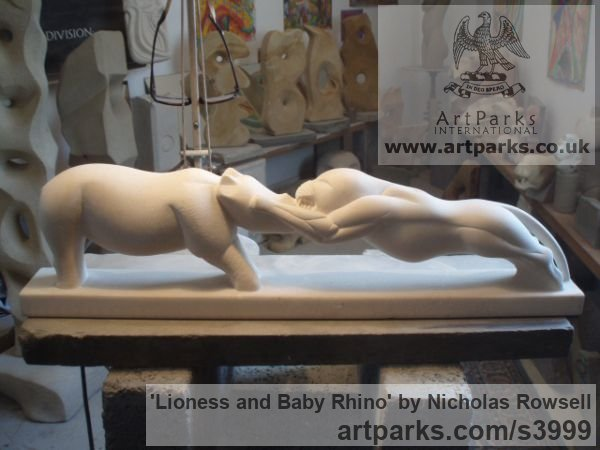 Portland limestone (Jordans best bed) Cats Wild and Big Cats sculpture by sculptor Nicholas Rowsell titled: 'Lioness and Baby Rhino (Stylised African Animals Fighting statuette)' - Artwork View 2