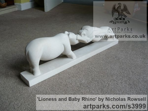 Portland limestone (Jordans best bed) Cats Wild and Big Cats sculpture by sculptor Nicholas Rowsell titled: 'Lioness and Baby Rhino (Stylised African Animals Fighting statuette)' - Artwork View 5
