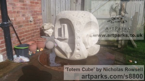 Portland whitbed limestone Carved Abstract Contemporary Modern sculpture carving sculpture by sculptor Nicholas Rowsell titled: 'Totem Cube'