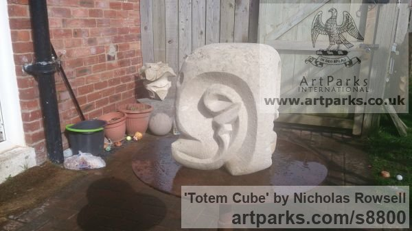 Portland whitbed limestone Carved Abstract Contemporary Modern sculpture carving sculpture by sculptor Nicholas Rowsell titled: 'Totem Cube' - Artwork View 3