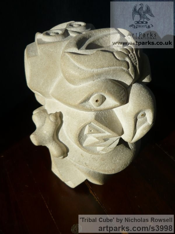 Portland limestone (Jordans best bed) Mask, Wall Hung Faces and Part Heads sculpture by sculptor Nicholas Rowsell titled: 'Tribal Cube (Carved abstract Gargoyle Face statue)' - Artwork View 2