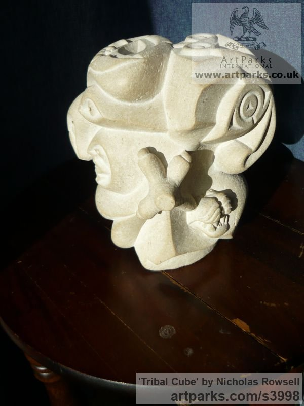 Portland limestone (Jordans best bed) Mask, Wall Hung Faces and Part Heads sculpture by sculptor Nicholas Rowsell titled: 'Tribal Cube (Carved abstract Gargoyle Face statue)' - Artwork View 5
