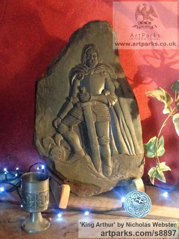 Sculpture king arthur carved slate in armour