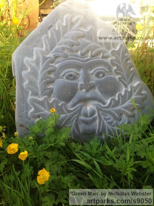 Slate Carved or Carving sculpture by sculptor Nicholas Webster titled: 'Green Man (carved face slate stone sculpture carving)' - Artwork View 2