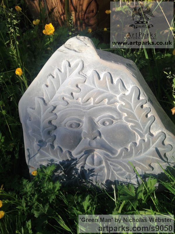 Slate Carved or Carving sculpture by sculptor Nicholas Webster titled: 'Green Man (carved face slate stone sculpture carving)' - Artwork View 5