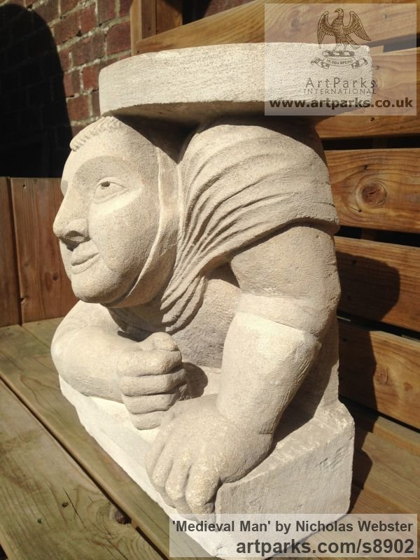 Limestone Garden Or Yard / Outside and Outdoor sculpture by sculptor Nicholas Webster titled: 'Medieval Man (carved stone Bust Torso statue)' - Artwork View 2