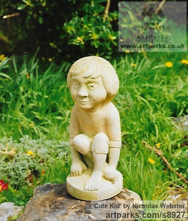 Portland Limestone Garden Or Yard / Outside and Outdoor sculpture by sculptor Nicholas Webster titled: 'Cute Kid (Carved Sitting Little Child stone statue)'
