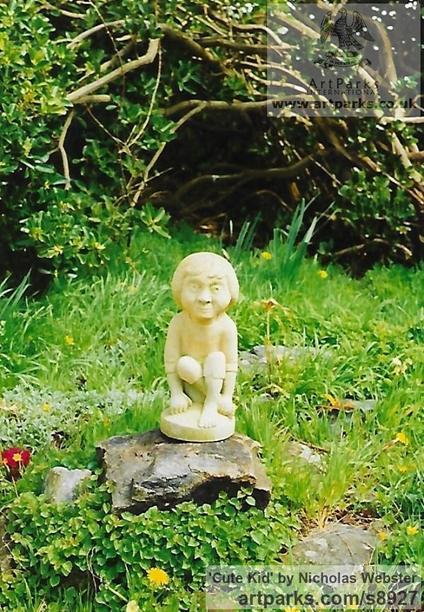 Portland Limestone Garden Or Yard / Outside and Outdoor sculpture by sculptor Nicholas Webster titled: 'Cute Kid (Carved Sitting Little Child stone statue)' - Artwork View 2