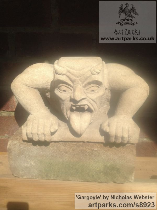 Portland Limestone Garden Or Yard / Outside and Outdoor sculpture by sculptor Nicholas Webster titled: 'Gargoyle (Carved Stone Grotesque sculpture)'