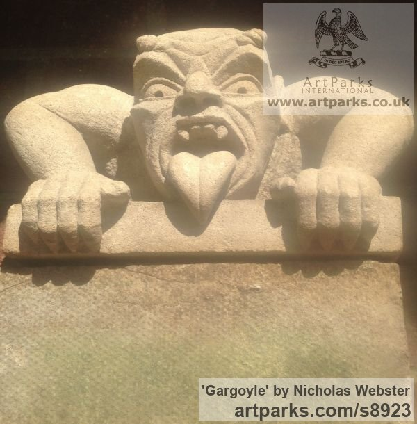 Portland Limestone Garden Or Yard / Outside and Outdoor sculpture by sculptor Nicholas Webster titled: 'Gargoyle (Carved Stone Grotesque sculpture)' - Artwork View 2