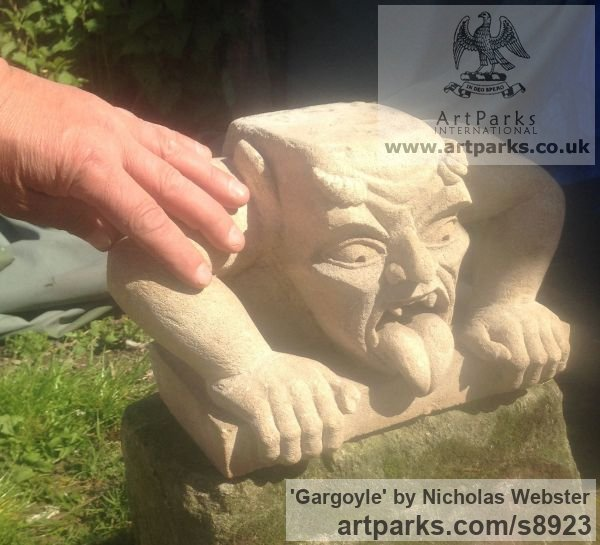 Portland Limestone Garden Or Yard / Outside and Outdoor sculpture by sculptor Nicholas Webster titled: 'Gargoyle (Carved Stone Grotesque sculpture)' - Artwork View 3