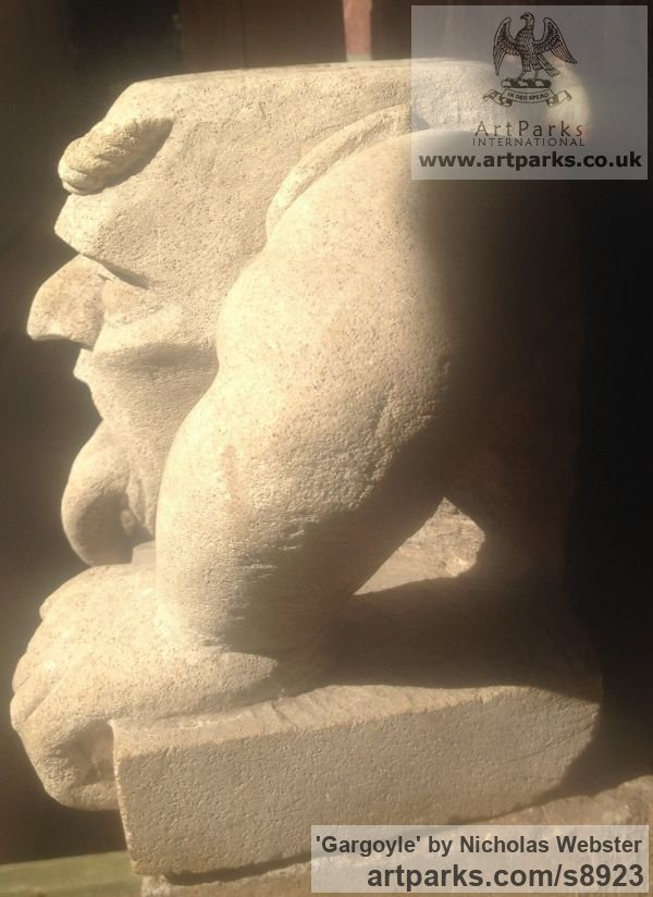 Portland Limestone Garden Or Yard / Outside and Outdoor sculpture by sculptor Nicholas Webster titled: 'Gargoyle (Carved Stone Grotesque sculpture)' - Artwork View 4