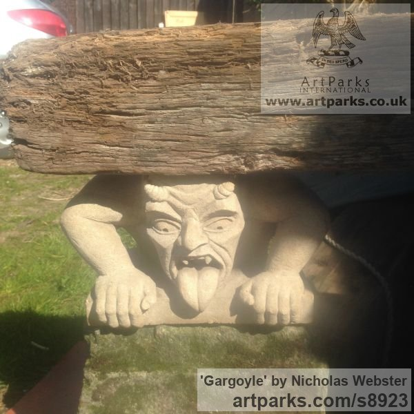 Portland Limestone Garden Or Yard / Outside and Outdoor sculpture by sculptor Nicholas Webster titled: 'Gargoyle (Carved Stone Grotesque sculpture)' - Artwork View 5