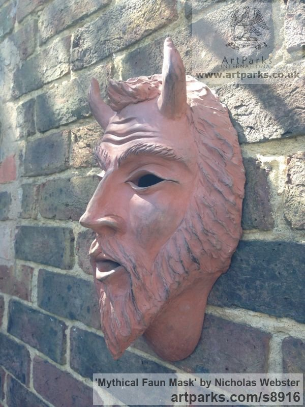 Terra Cotta Wall Mounted or Wall Hanging sculpture by sculptor Nicholas Webster titled: 'Mythical Faun Mask (Horned Devil Demon statue)' - Artwork View 2
