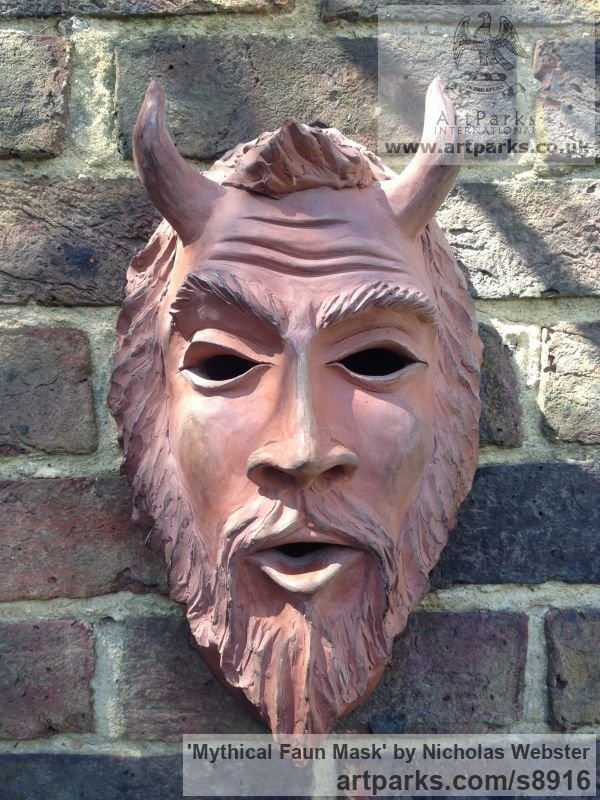 Terra Cotta Wall Mounted or Wall Hanging sculpture by sculptor Nicholas Webster titled: 'Mythical Faun Mask (Horned Devil Demon statue)' - Artwork View 3
