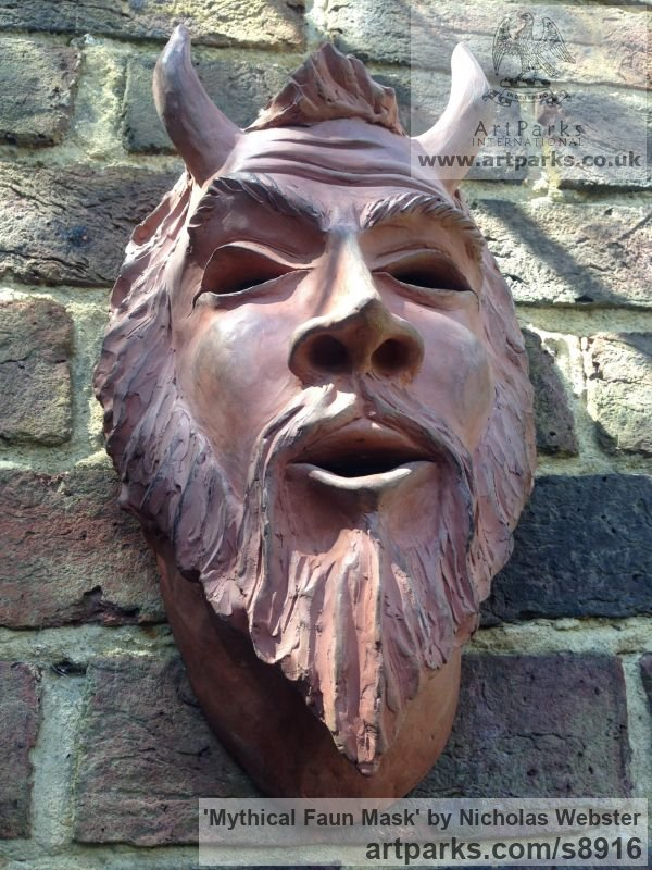 Terra Cotta Wall Mounted or Wall Hanging sculpture by sculptor Nicholas Webster titled: 'Mythical Faun Mask (Horned Devil Demon statue)' - Artwork View 4