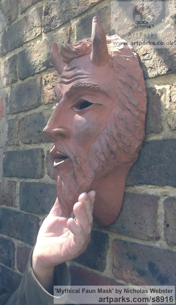 Terra Cotta Wall Mounted or Wall Hanging sculpture by sculptor Nicholas Webster titled: 'Mythical Faun Mask (Horned Devil Demon statue)' - Artwork View 5