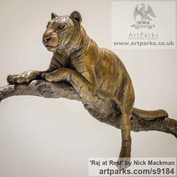 Bronze Cats sculpture by sculptor Nick Mackman titled: 'Raj at Rest (Tiger Resting Drowsing on Branch statue)' - Artwork View 2
