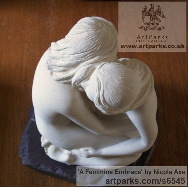 French limestone Females Women Girls Ladies sculpture statuettes figurines sculpture by sculptor Nicola Axe titled: 'A Feminine Embrace (nude Girl`s females Women Lovers Fondling statues)' - Artwork View 3