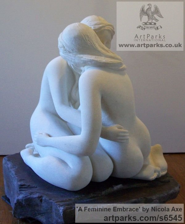 French limestone Females Women Girls Ladies sculpture statuettes figurines sculpture by sculptor Nicola Axe titled: 'A Feminine Embrace (nude Girl`s females Women Lovers Fondling statues)' - Artwork View 5