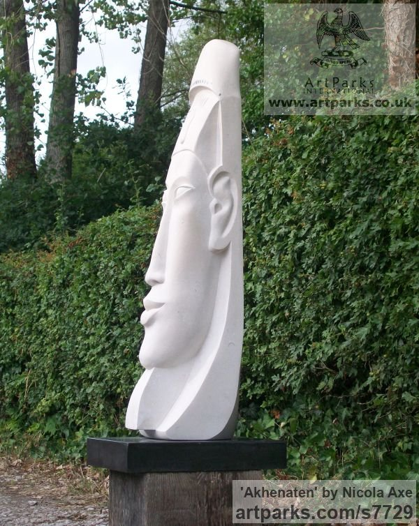 Portland stone granite plinth Abstract Contemporary Modern Outdoor Outside Garden / Yard sculpture statuary sculpture by sculptor Nicola Axe titled: 'Akhenaten (Carved stone Unique Modern Pharadh`s Head statue carving)' - Artwork View 2
