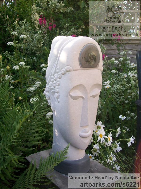 Portland Stone Garden Or Yard / Outside and Outdoor sculpture by sculptor Nicola Axe titled: 'Ammonite Head (Carved Contemporary Buddha Bust/Head statues/art)'