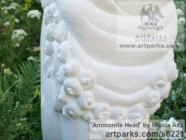 Portland Stone Garden Or Yard / Outside and Outdoor sculpture by sculptor Nicola Axe titled: 'Ammonite Head (Carved Contemporary Buddha Bust/Head statues/art)' - Artwork View 3