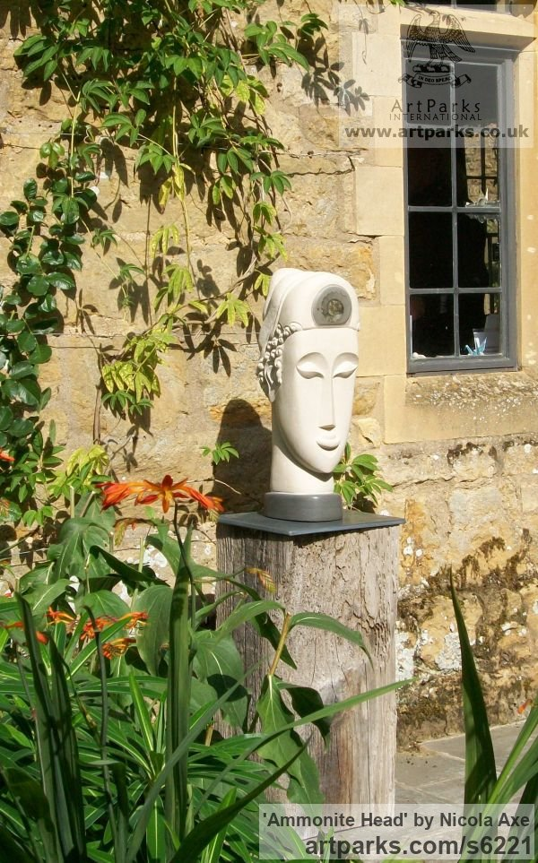 Portland Stone Garden Or Yard / Outside and Outdoor sculpture by sculptor Nicola Axe titled: 'Ammonite Head (Carved Contemporary Buddha Bust/Head statues/art)' - Artwork View 4
