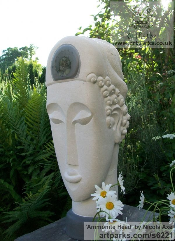Portland Stone Garden Or Yard / Outside and Outdoor sculpture by sculptor Nicola Axe titled: 'Ammonite Head (Carved Contemporary Buddha Bust/Head statues/art)' - Artwork View 5