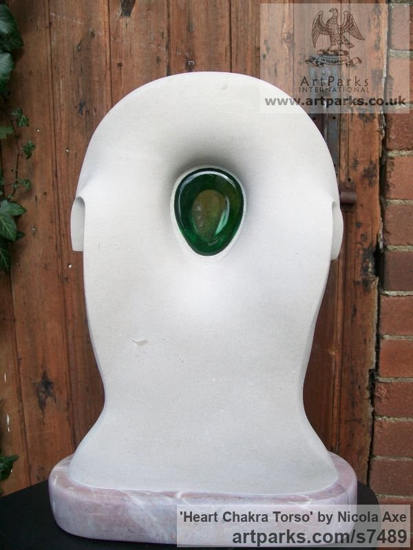Portland Stone, glass, Stoneycombe marble Abstract Contemporary Modern Outdoor Outside Garden / Yard sculpture statuary sculpture by sculptor Nicola Axe titled: 'Heart Chakra Torso (Semi abstract Contemporary Torso Carving statue)' - Artwork View 3