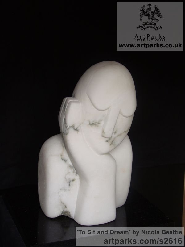Italian Alabaster Garden Or Yard / Outside and Outdoor sculpture by sculptor Nicola Beattie titled: 'To Sit and Dream (Day Dreaming garden sculpture/statue)' - Artwork View 2