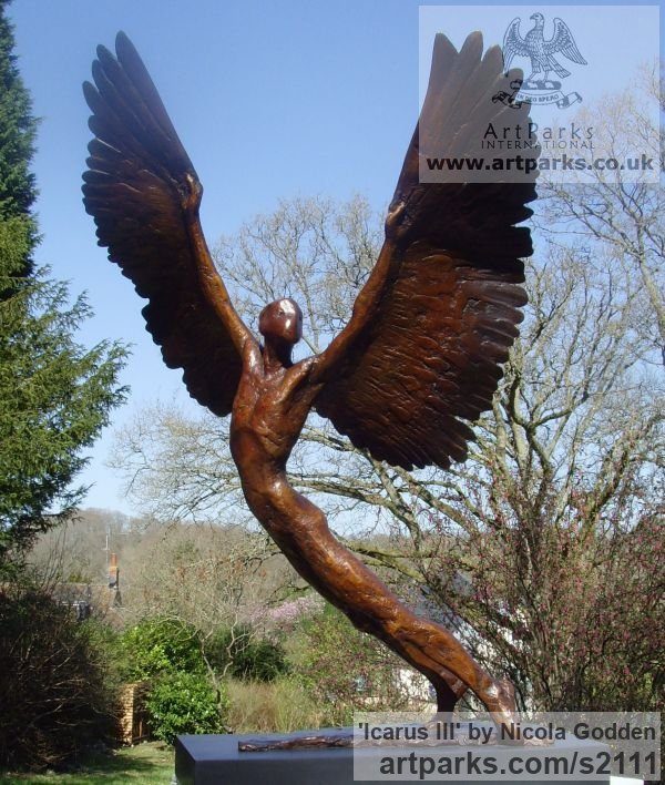 Bronze Icarus sculpture statuettes sculpture by sculptor Nicola Godden titled: 'Icarus III (bronze small Size Icarus Flying sculptures)' - Artwork View 2