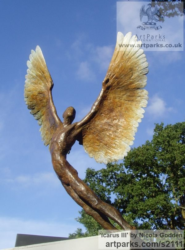 Bronze Icarus sculpture statuettes sculpture by sculptor Nicola Godden titled: 'Icarus III (bronze small Size Icarus Flying sculptures)' - Artwork View 4