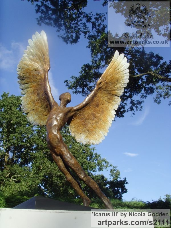Bronze Icarus sculpture statuettes sculpture by sculptor Nicola Godden titled: 'Icarus III (bronze small Size Icarus Flying sculptures)' - Artwork View 5