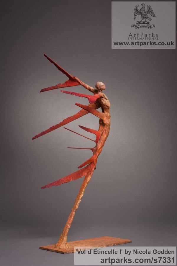 Bronze Spirit of Dance Abstract Contemporary Modern sculpture by sculptor Nicola Godden titled: 'Vol d`Etincelle I (Contemporary Semi abstract Flying Man statue)' - Artwork View 3