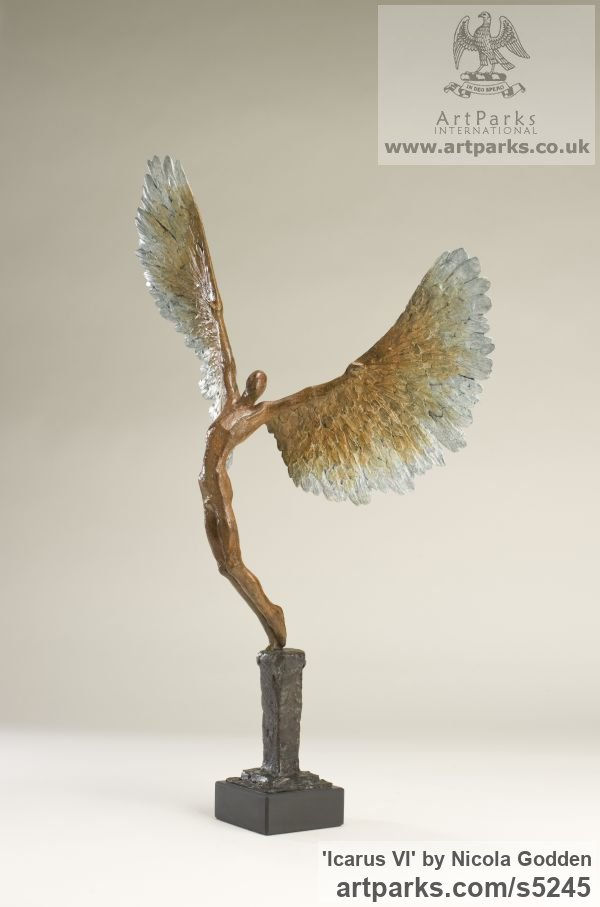 Bronze Mythical sculpture by sculptor Nicola Godden titled: 'Icarus VI (Bronze Taking/Launching Off Small statue)' - Artwork View 3