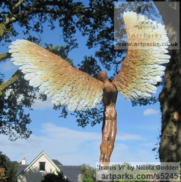 Bronze Mythical sculpture by sculptor Nicola Godden titled: 'Icarus VI (Bronze Taking/Launching Off Small statue)' - Artwork View 4