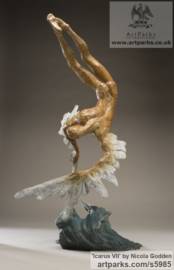 Bronze Garden Or Yard / Outside and Outdoor sculpture by sculptor Nicola Godden titled: 'Icarus VII (Small Falling with Melting Wings statue)'