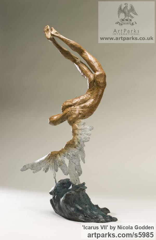 Bronze Garden Or Yard / Outside and Outdoor sculpture by sculptor Nicola Godden titled: 'Icarus VII (Small Falling with Melting Wings statue)' - Artwork View 3