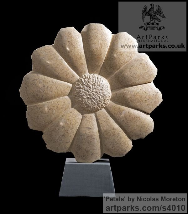 Ancaster weatherbed Limestone Garden Or Yard / Outside and Outdoor sculpture by sculptor Nicolas Moreton titled: 'Petals (Circular Large Daisy Flower Carved stone garden Yard sculpture)'