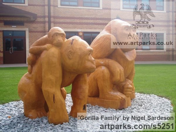 Cedar Garden Or Yard / Outside and Outdoor sculpture by sculptor Nigel Sardeson titled: 'Gorilla Family (Carved Wood School Custom statues)' - Artwork View 2